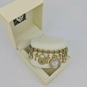 Anne-Klein-AK-3460GPCH-Women-039-s-Gold-Tone-Charm-Bracelet-Watch