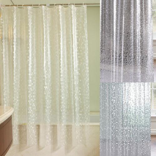 3D Waterproof PVC Bathing Mosaic Shower Curtain Bathroom Curtains with Hooks UK