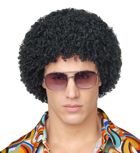 Black 70S Disco Wig 70S Fancy Dress Costume Accessory Retro Hippy Groovy