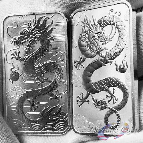 Lot of 2 2018 /& 2019 1oz Australian Perth Mint Silver Dragon Bar .9999 Fine