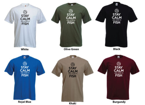 Men/'s Custom T-shirt /'Stay Calm and Listen to Fish/'