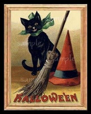 Halloween Cat Scene Miniature Dollhouse Picture
