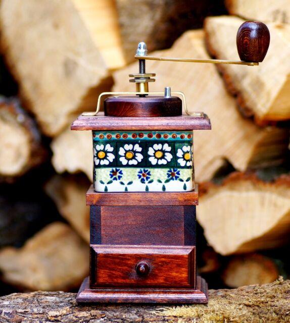 Kaffeemühle Porzellan Typ 1 Holz Gewürzmühle Bunzlauer Mühle Handarbeit Mahlwerk