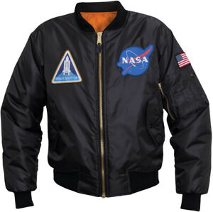 Black NASA Meatball MA1 Flight Jacket Space Shuttle Patches Bomber Coat