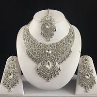 Clear Silver Indian Costume Jewelry Necklace Earrings Diamond Set Bridal 91