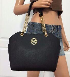 Michael-Kors-Black-Saffiano-Leather-Jet-Set-Travel-Shoulder-Tote-Bag-Handbag-Bag