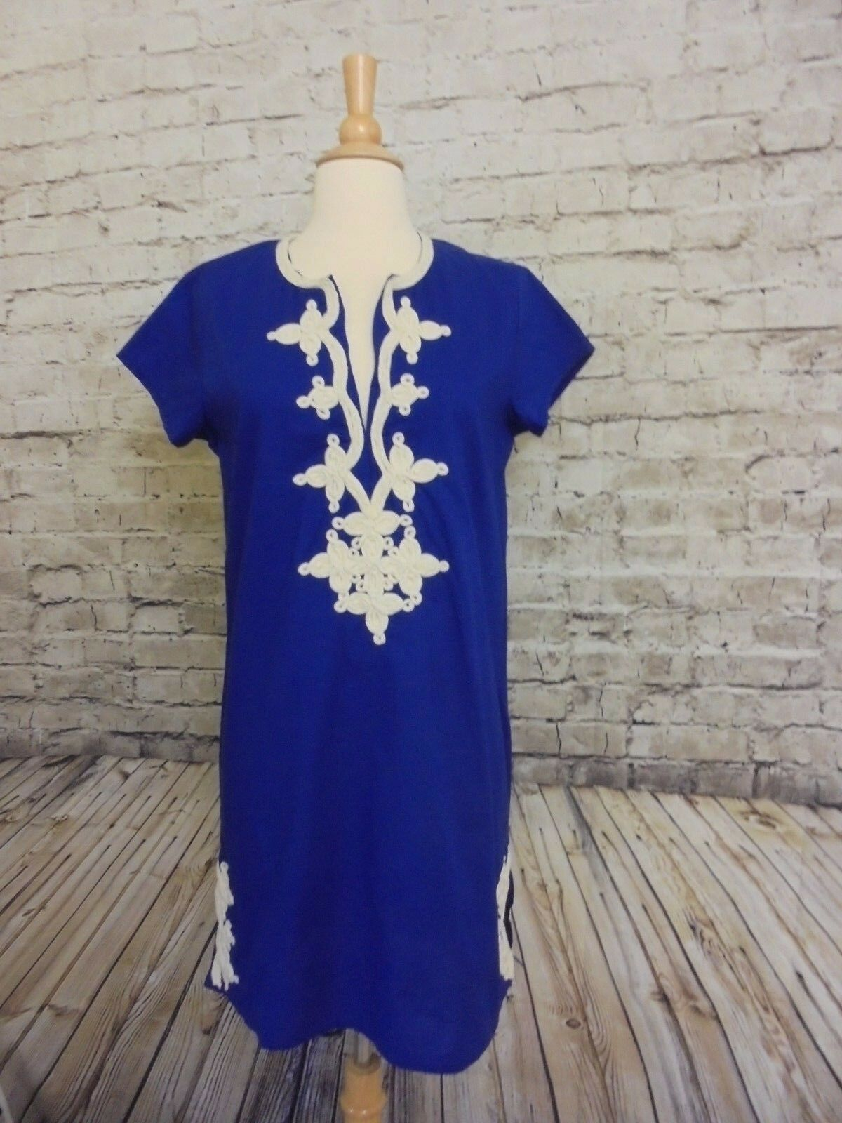 195 J CREW GALLABIA NEW YORK MINI DRESS COVER-UP L   F2931 IN blueE EMBROIDERED