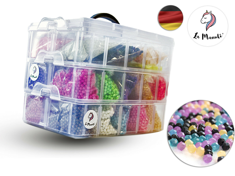 La Manuli 32.000 Aqua Beads Perlen Set DIY Glitzerperlen Nachfüllbox Fuse Beads