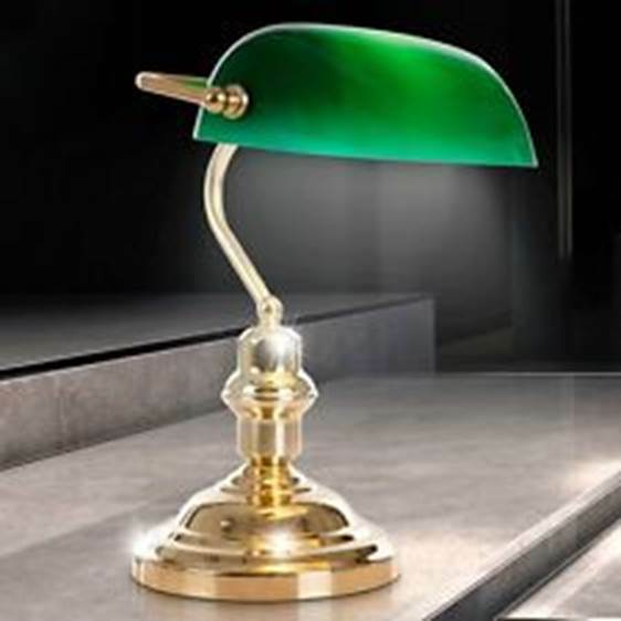 Bankers Schreib Tisch Lampe Nostalgie MESSING Metall Büro Leuchte grün Retro