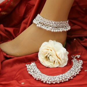 Anklet-with-Bells-Pair-2-Piece-90g-Anklets-Indian-Bollywood-Silver-7s2