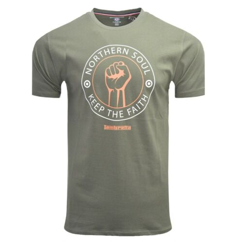 "BEETLE GREEN MENS LAMBRETTA NORTHERN SOUL /"" KEEP THE FAITH /"" T SHIRT SS 5152"