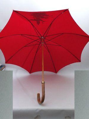 Groß Schirm Regenschirm Sonnenschirm 100% Baumwoll Rot Motiv Wildenten Holzgriff