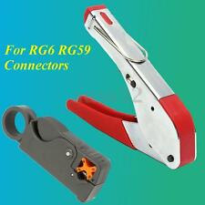 Steel Compression Tool Coax Stripper Rg59 Rg6 F Connector Fitting Crimper Kit