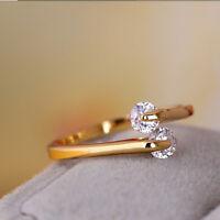 New Fashion Women 18k Rose Gold Plated Crystal Bridal Wedding Ring Size 6 7 8 9