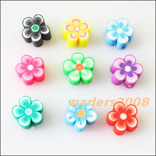 35 New Charm Handmade Polymer Fimo Clay Star Flower Flat Spacer Beads Mixed 10mm
