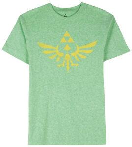 Nintendo-Zelda-Triforce-Logo-Green-Heather-Men-039-s-Graphic-T-Shirt-New