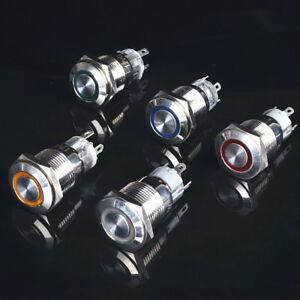 3-220V-LED-Power-Befestigungsloch-Metall-Schalter-Button-Wasserdicht-Fur-Auto-P
