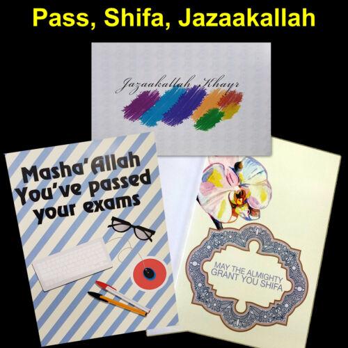 Islamic Cards Pass Exam Shifa /& Jazaakallah Cards Occasions Classical design