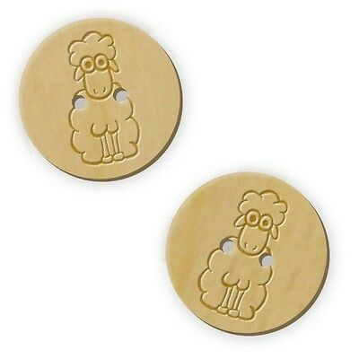 12 x 23mm 'Sheep' Round Wooden Buttons