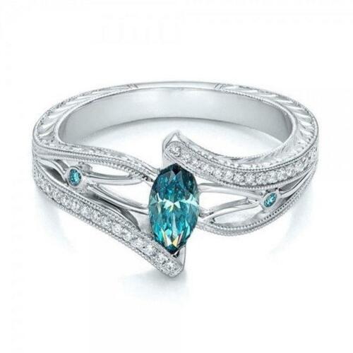 Corte De Pera Topacio Azul /& Real Diamante Anillo De Compromiso De Oro Blanco Moda Nuevo 6T