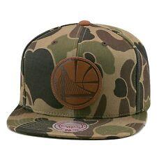 Mitchell & Ness Golden State Warriors Strapback Hat Woodland Camo/Leather Logo