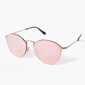 Ray-Ban Blaze Round RB3574N 001 E4 Gold Pink Mirror Sunglasses 59mm ... a692cf0ace