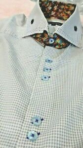 NWT Bogosse men/'s short sleeve casual button down shirt,geometric multi-sizes