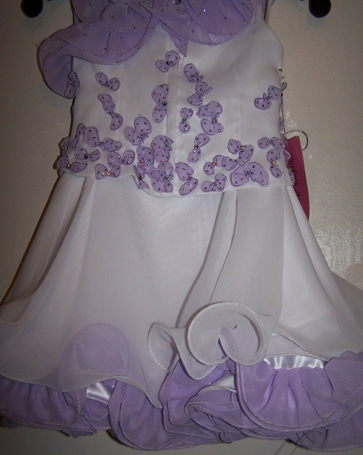 NWT Girl PERFECT ANGEL 1187 Pageant Dance Top Skirt Dress Gown White Lilac 5T