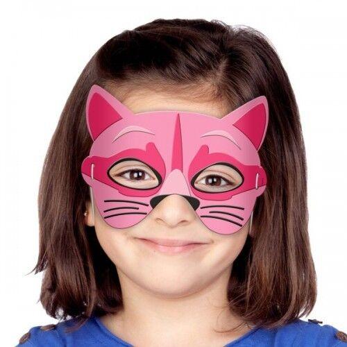 GATTO Maschera mezzo viso con elastico per tenere in morbido materiale EVA Taglia Unica Bambini