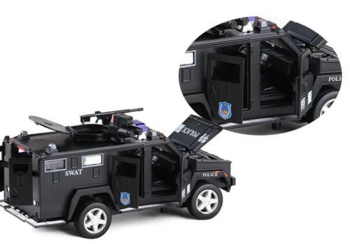 Baby Car Toy 1:32 Police Swat Anti Hijacking Alloy Musical Flashing Pull Back