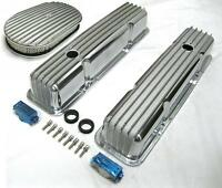 58-86 Sbc Chevy Tall Polished Aluminum Finned Valve Covers & 15 Air Cleaner Kit