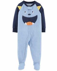 42e4c0af6121 NWT Boys Carters Fleece Footed pajama Blanket Sleeper Blue Monster ...