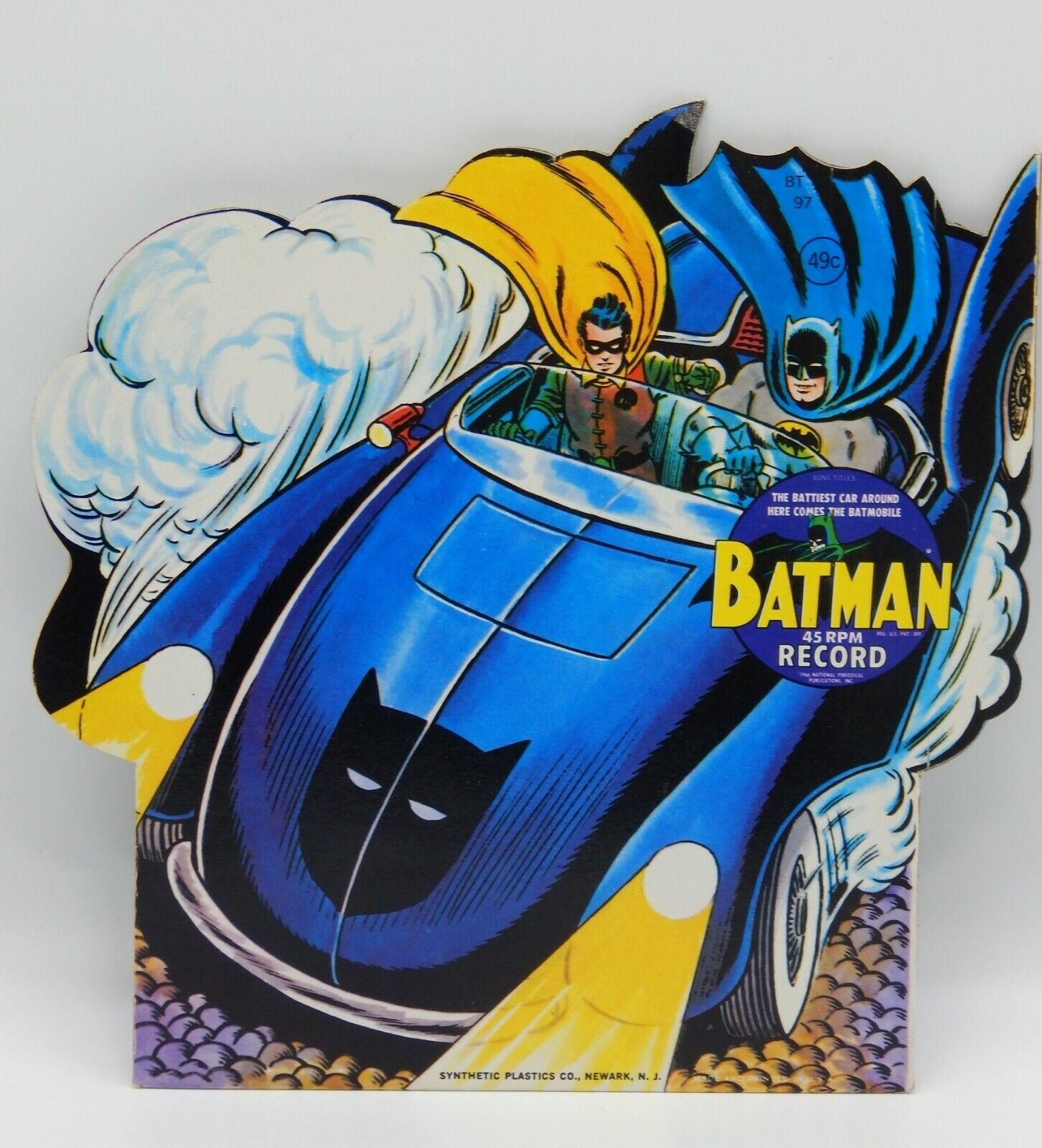 Vintage BATMOBILE 45 rpm record diecut picture sleeve PS 1966 UNUSED 7  Batman