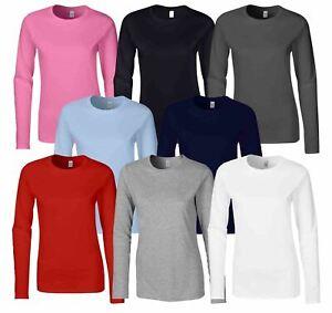 GILDAN-softsyle-Femmes-T-shirt-homme-a-manches-longues-100-Coton-Doux-Decontracte-Femme
