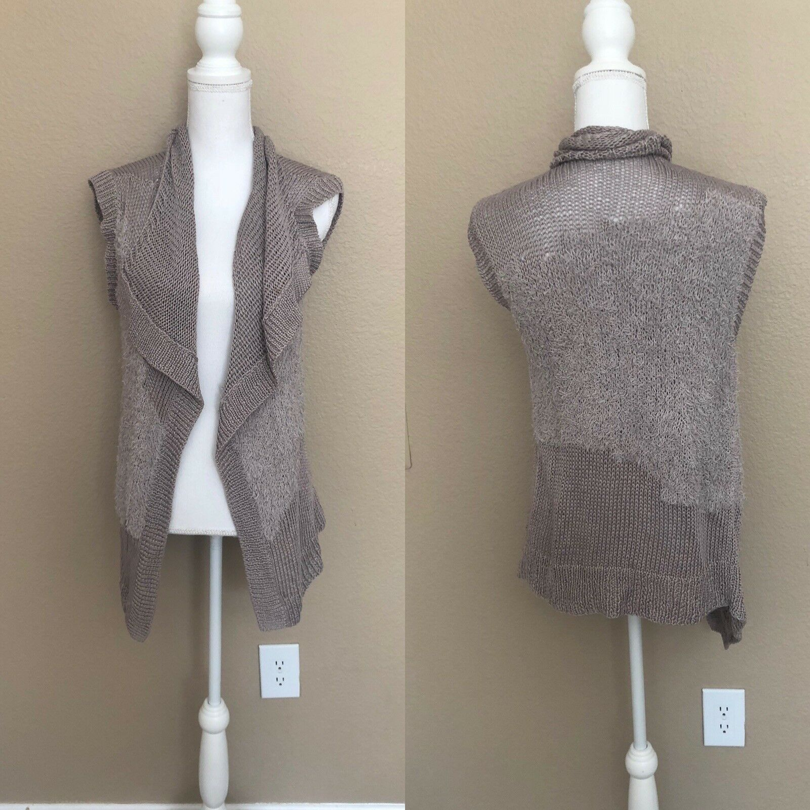 THEORY WOMEN'S SWEATER VEST DRAPE OPEN FRONT One Size Tan Cotton