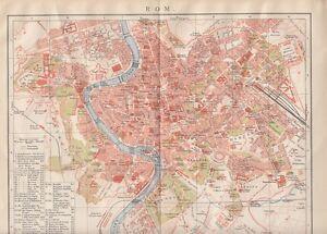 Details zu 1895 ROM Italien ROME Italy Vatikan Alter Stadtplan Old City Map  Landkarte Litho