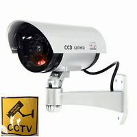 2 PC Fake Dummy Security SILVER CCTV Camera Outdoor/Indoor Red Flash Light IR