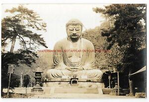 Japan-Daibutsu-of-Kamakara-Real-Photo-Vintage-Postcard