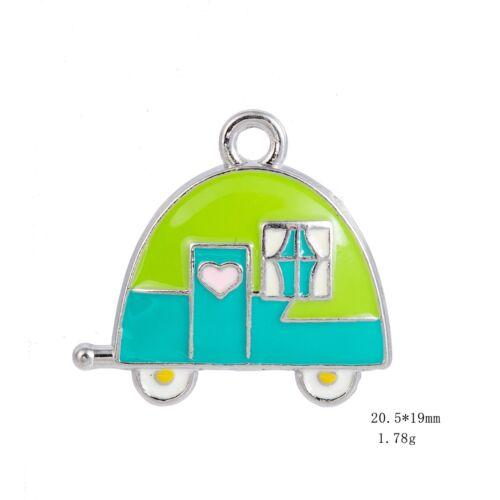 10Pcs infirmière électrocardiogramme voiture EMAILLE Charms Pendentifs pour Bijoux Making