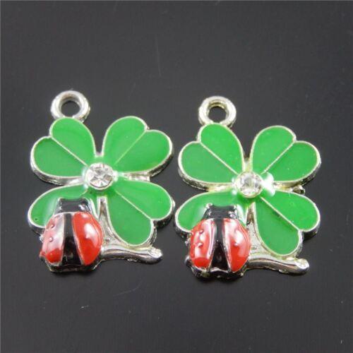 37058 Color Verde Y Rojo Trébol Ladybug esmalte encanto colgante encontrar 20 un.