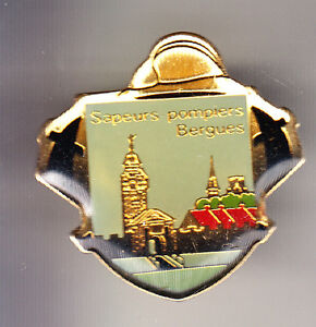 RARE-PINS-PIN-039-S-POMPIER-FIRE-CASERNE-EGLISE-CHURCH-BERGUES-59-CD