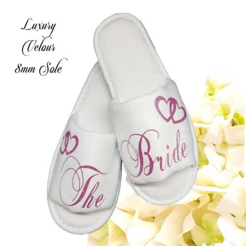 Personalised Bride Spa Slippers Wedding Guest Shoe  Pink /& Heart Script