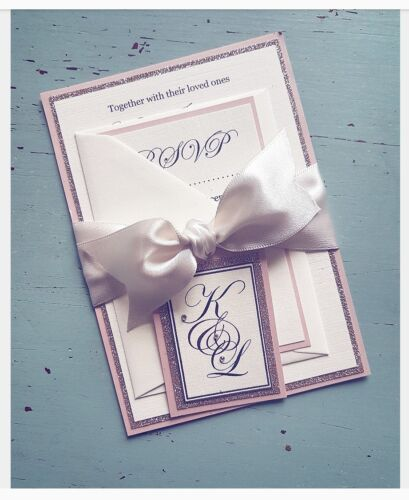 Rose Gold Glitter Wedding Evening Invitations with Rsvp ♡ PERSONALISED