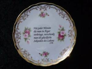 Retsch-Bavaria-Porcelain-Wall-Plate-with-Saying-Rose-Decoration-and-Gold-Rim
