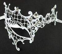 White Crystal Lady Phantom Laser Cut Venetian Mask Masquerade Metal Filigree