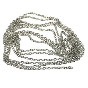 2mm wide 304 stainless steel hypoallergenic flat cable chain non tarnish