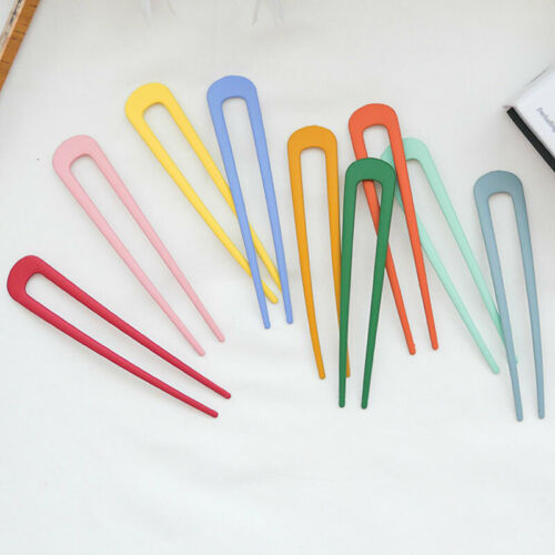 U Shape Simple Hairpin Candy Color Metal Alloy Hair Clip for Girl Hair Accessory