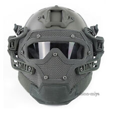 Tactical Protective Full Face Fast Bump Helmet Mesh Mask Goggles Armor System
