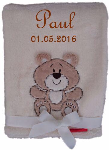 Kuschlige Babydecke FLAUSCHIG mit Namen u Datum bestickt Kinderdecke Baby Geburt