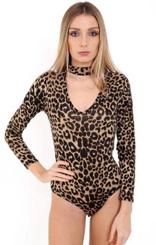 New Womens Printed Choker Keyhole Neck Long Sleeve Bodysuit Stretch Leotard Top